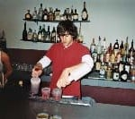 Steve P practices making drinks